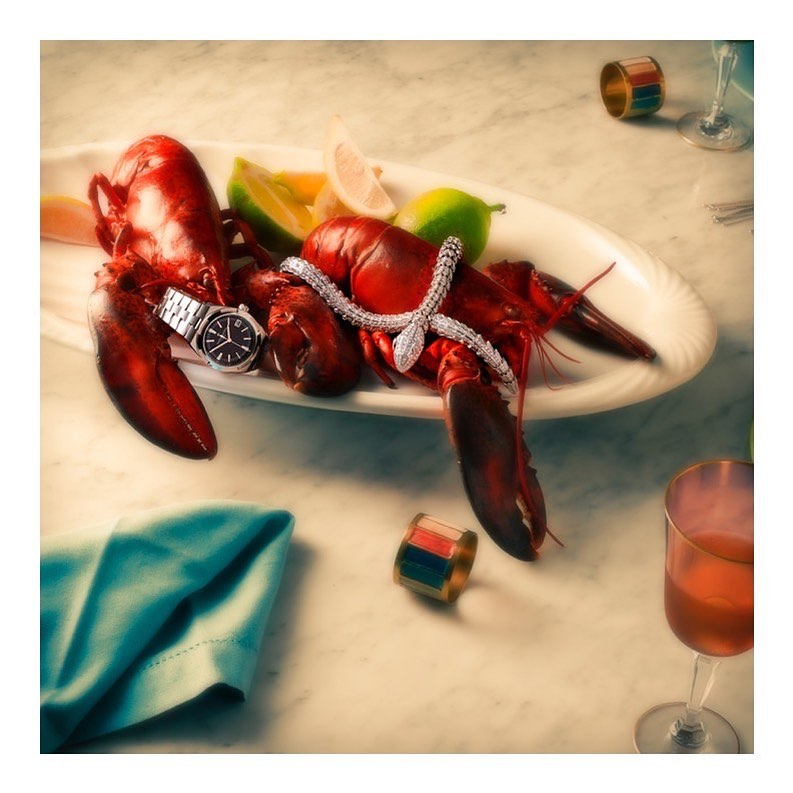 !19 was a feast!...#editorial #lobster #diamonds #jewelry #necklace #diamonds #aquamarine #luxury #color #look #still #stilllife #photography #setdesign #set #crop #cropped #in #red #drink #look #glamourshot #retouch #largeformat #close #closeup #watch
